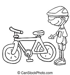 black and white boy and his bicycle cartoon illustration