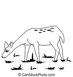 black and white fawn in a field cartoon