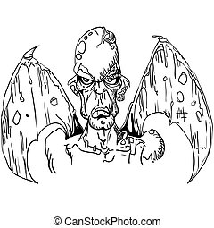 black and white evil demon with wings cartoon