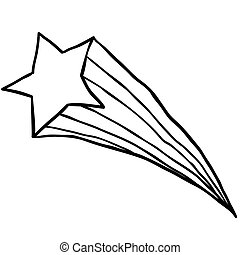 black and white falling star cartoon illustration isolated...