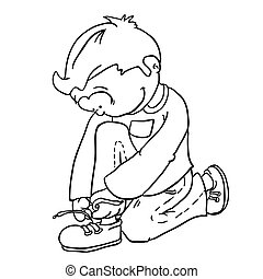 black and white boy tying a shoelace cartoon