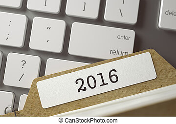 Card File with Inscription 2016 - 2016 Concept Word on...