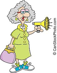 Cartoon old lady with a megaphone.