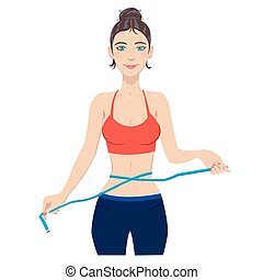 Young slim woman measuring waist wi