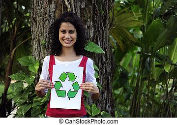 婦女,  recycling:, 簽署, 森林, 藏品, 再循環