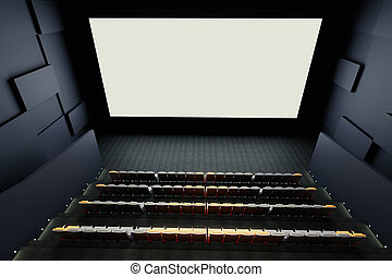 Cinema interior - Cinema hall interior with rows of seats,...