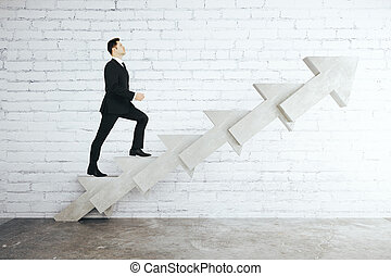 Man on arrow ladder - Success concept with businessman...