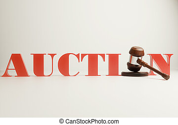 Auction gavel on light background - Wooden auction gavel on...