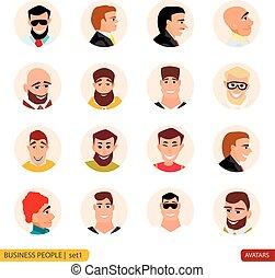 Set avatars businessmen in face