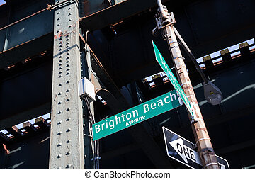 Street signs for Brighton Beach avenue and Brighton 3 Street...