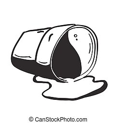 cup spill black and white cartoon
