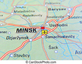 Map of Minsk, Russia.
