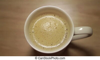 cappuccino with foam in white cup - Hot cappuccino with foam...