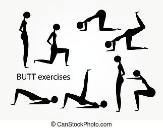 Butt exercises workout stylized silhouettes set vector.