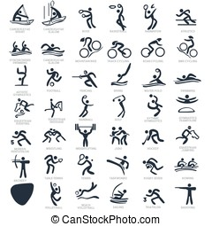 Olympics Icon Pictograms Set 3 Vector Illustration -...