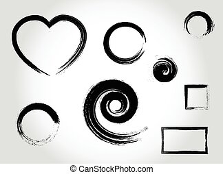 Ink strokes set - Ink calligraphy strokes. Heart shape,...