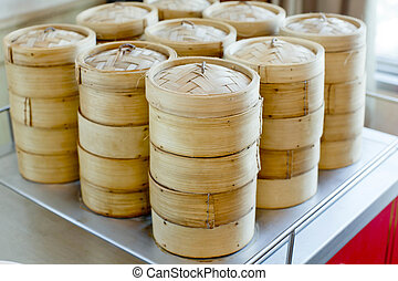 stack of bamboo steamer