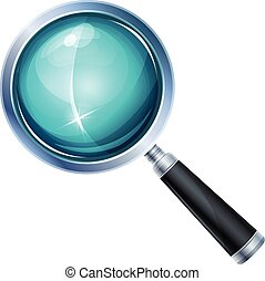 Magnifying Glass Icon Isolated - Illustration of a realistic...