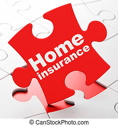 Insurance concept: Home Insurance on puzzle background -...