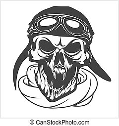 hell pilot - skull with helmet and glasses Isolated on white...