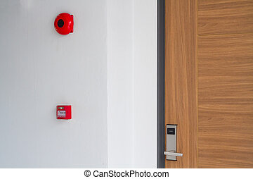 sign - Door handle keycard security with fire alarm