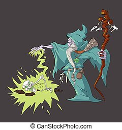 Necromancer rising a dead sceleton with magic. - Colorful...