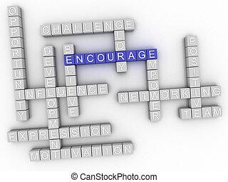 3d image Encourage word cloud concept