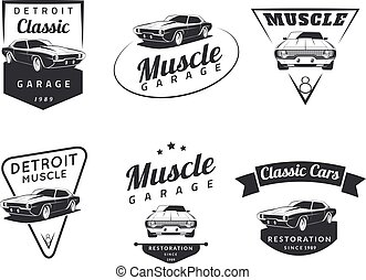 MuscleCar - Set of classic muscle car emblems, badges and...