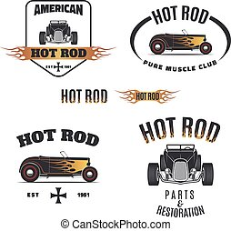 hoT ROD FLAME COLOR - Set of hot rod style labels, emblems...