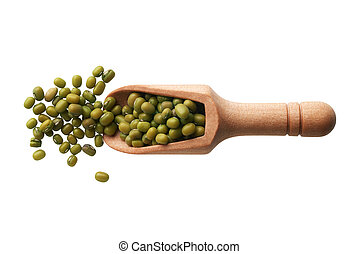 Mung beans in a wooden scoop