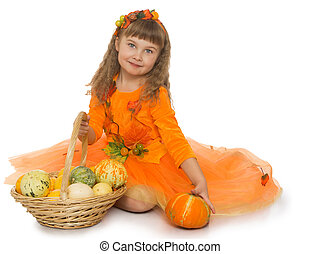 Girl with basket of vegetables - Beautiful little blonde...