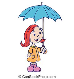 little girl with umbrella cartoon isolated on white