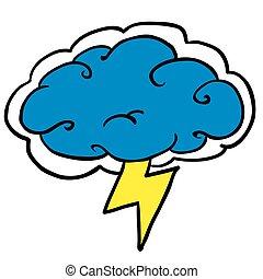 storm cloud cartoon illustration isolated on white