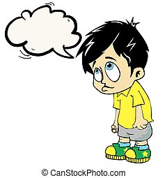 sad boy with speech bubble cartoon illustration