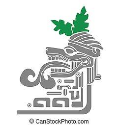 mayan idol cartoon illustration isolateed on white