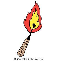 match - burning match cartoon illustration isolated on white