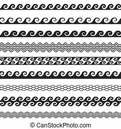 Seamless wave line pattern borders - Seamless vector wave...