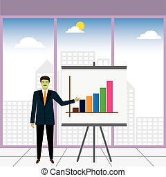 businessman or executive showing increasing profits - vector...