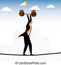 businessman or executive walking on tightrope balancing...
