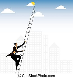 businessman or executive climbing stairs to sky - vector...