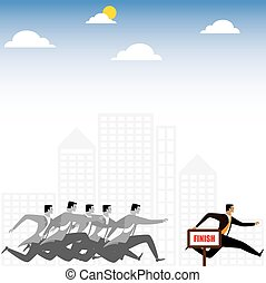 businessman or executives having a race - vector graphic....