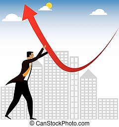 businessman or executive trying to change the business performance - vector graphic