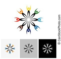 colorful abstract vector logo icon of people connected together