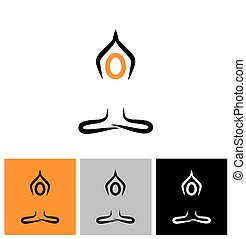 vector logo icon person doing meditation and yoga. this also...