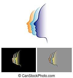 vector logo icon of face of 3 women
