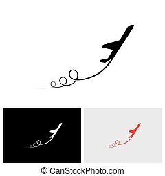 vector icon of airplane icon take off showing its path and...