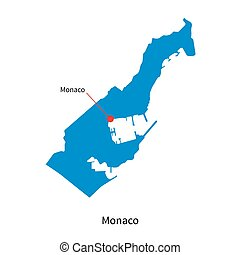 Detailed vector map of Monaco and capital city Monaco