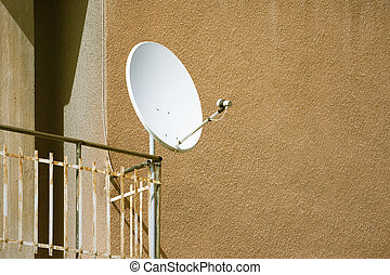 satellite dish at a balcony - An image of a satellite dish...