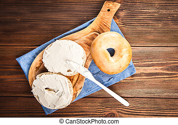 Bagels with cream cheese - Delicious bagels with cream...