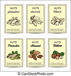 almond, pistachio, filbert - Hand drawn nuts sale tag...